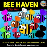 Bee Haven Colorful Bees Clip Art for Teachers