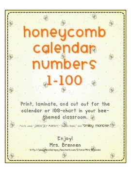 Bee Hive Honeycomb Calendar Numbers