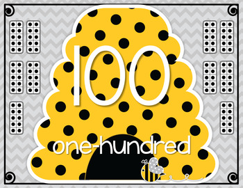 Bee Themed Number Posters with gray chevron