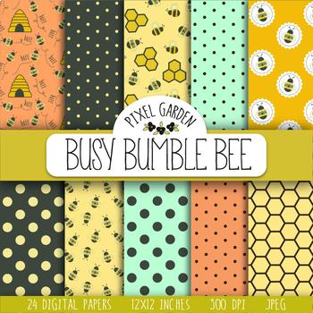 Bee, Honeycomb, Floral Digital Paper - 24 JPEGs