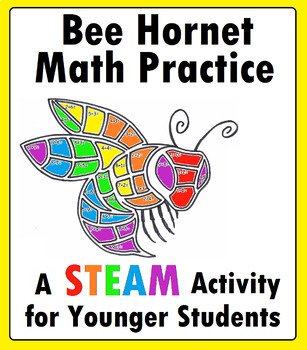Bee Hornet Mascot Math STEAM Worksheet for Kindergarten, 1st Grade