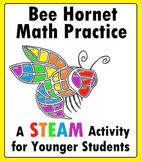 Bee Hornet Mascot Math STEAM Worksheet for Kindergarten, 1st Grade