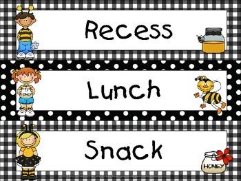 Bee Kids Pocket Chart Schedule Cards