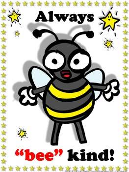 Bee Poster: Always Bee Kind Poster for Students - Superstars Theme