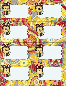 Bee Label Set- Paisley Background