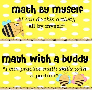 Bee Math Center Labels
