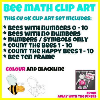 Bee Math Clip Art Set 1 - 10 - Color and Blacklines!