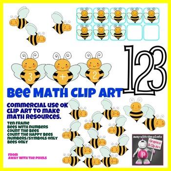 Bee Math Clip Art Set 1 - 10 - Color and Blacklines!
