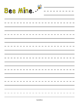 Bee Mine Bumble Bee Valentine's Day Primary Lined Paper