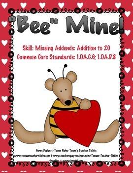 Bee Mine Missing Addends Valentine's Day First Grade Math Center