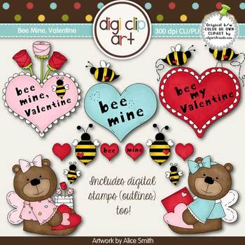 Bee Mine, Valentine 1-  Digi Clip Art/Digital Stamps - CU Clip Art