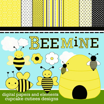 Bee Mine Whimsical  Digital - Clip Art  Digital Set and Papers 8.5 x 11JPEg