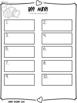 Bee Mine!  Write the Room Sight Word Freebie