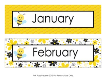 Bee Monthly Calendar Headers