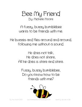Bee My Friend Valentine 39 s poetry freebie by Miss Moore TpT