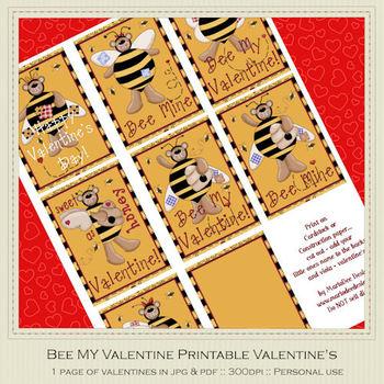 Bee My Valentine 1 Printable Valentine's