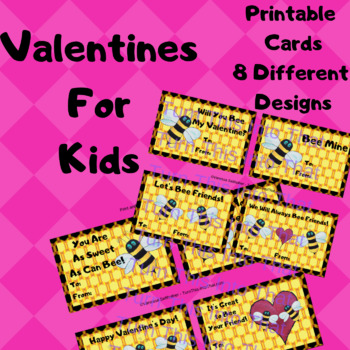 graphic relating to Printable Kid Valentine Cards identified as Bee My Valentine Playing cards for Children - Valentines Card Printable - 8 models