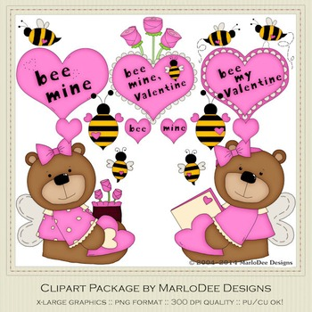 Bee My Valentine Pink Clip Art Graphics by MarloDee Designs