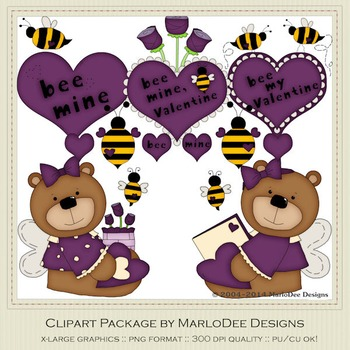 Bee My Valentine Purple Clip Art Graphics by MarloDee Designs