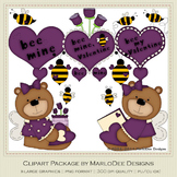 Bee My Valentine Purple Clip Art Graphics by MarloDee Designs