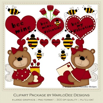 Bee My Valentine Red Clip Art Graphics by MarloDee Designs
