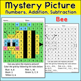 Bumble Bee Math Mystery Picture - Color by Number Summer or Spring Activity