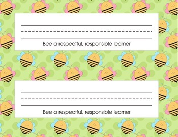 Bee Name Plates for desk with number line or blank