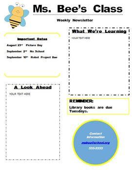 Bee newsletter template editable word document by jennifer poyhonen bee newsletter template editable word document spiritdancerdesigns Images