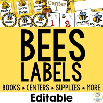 Bee Theme:  Organization Cards and Labels (Editable)