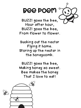 Bee Poem by Mrs McDonald | Teachers Pay Teachers