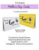 Bee Printable Mother's Day Card, Color your own, gift, Hap