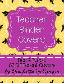 Bee & Purple Teacher Binder Covers - 63 Different Covers
