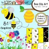 Bee Set {Bee Clip Art, Frames, & Digital Papers}: Graphics for Teachers