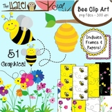 Bee Set {Bee Clip Art, Frames, & Digital Papers}: Graphics
