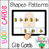 Bee Shapes Patterns Clip Cards BOOM Cards™️ Digital Distance Learning
