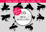 Bee Silhouettes Clipart Clip Art (AI, EPS, SVGs, JPGs, PNGs, PDF)