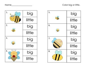 Size Matching - Activity and Worksheets