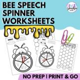 Bee Speech Spinner Worksheets | No Prep | Print & Go | Sub
