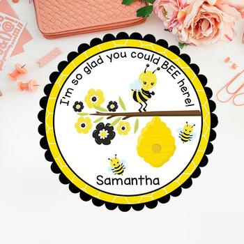 Bee Sticker/Tag/Cupcake Topper/Label