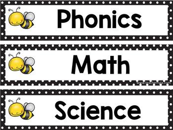 Bee Subject Header Cards - Editable