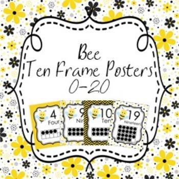 Bee Ten Frame Posters 0 - 20