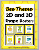 Bee Theme Classroom Decor - 2D Shapes and 3D Shapes Posters