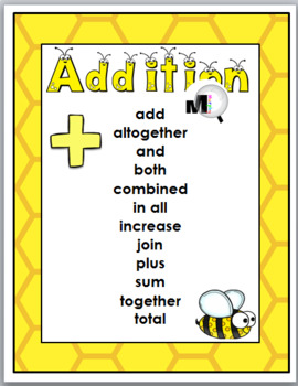 Bee Theme Classroom Decor - Math Key Words - Addition and Subtraction