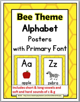 Bee Theme Alphabet Posters with Primary Font - Alphabet Cards