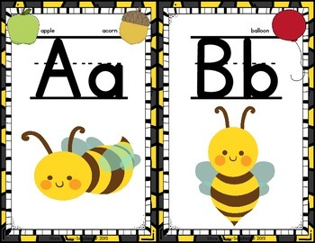 Bee Theme Alphabet and Word Wall Letter Cards