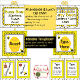 Attendance and Lunch Count Clip Chart {Editable} - Busy Bee Theme