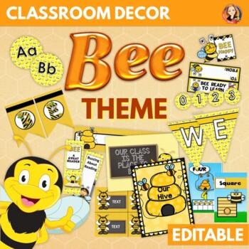 Bee Theme Back to School Decor, Activities, Gifts - Editable