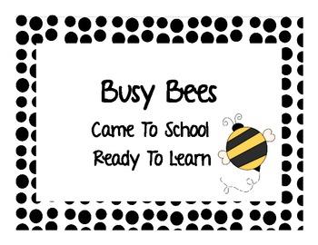 Bee Theme Behavior Chart
