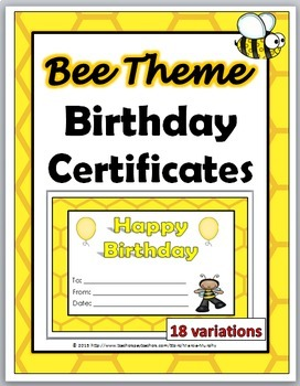 Bee Theme Classroom Birthday Certificates