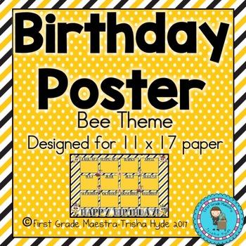 Bee Theme Birthday Poster